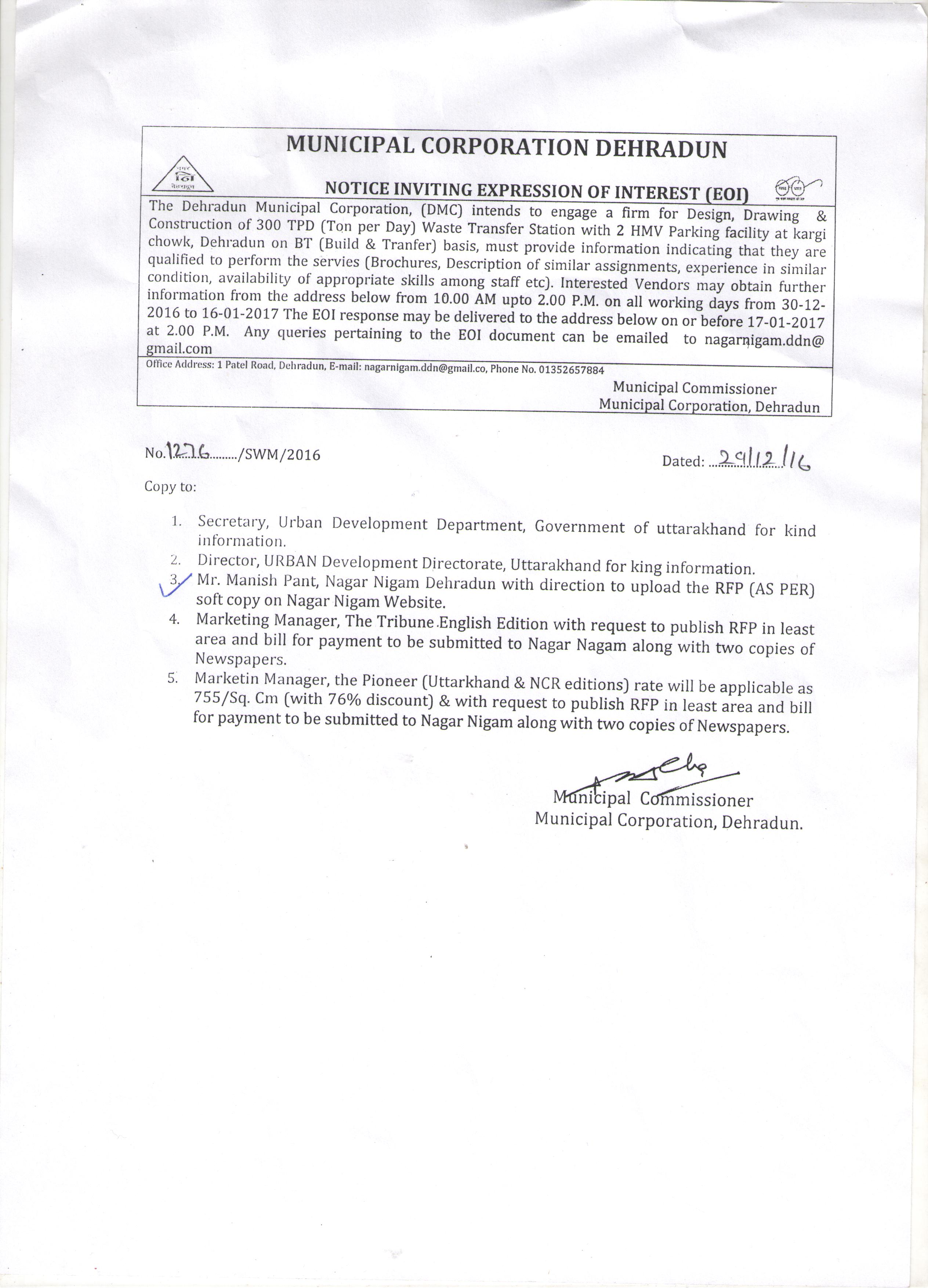 Nagar nigam notice for eoi download tender document thecheapjerseys Images